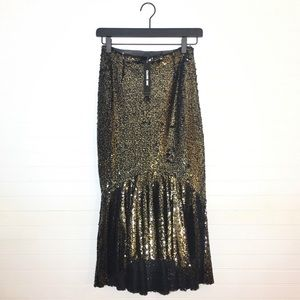 NEW Gianni Bini Gold Sequin Skirt